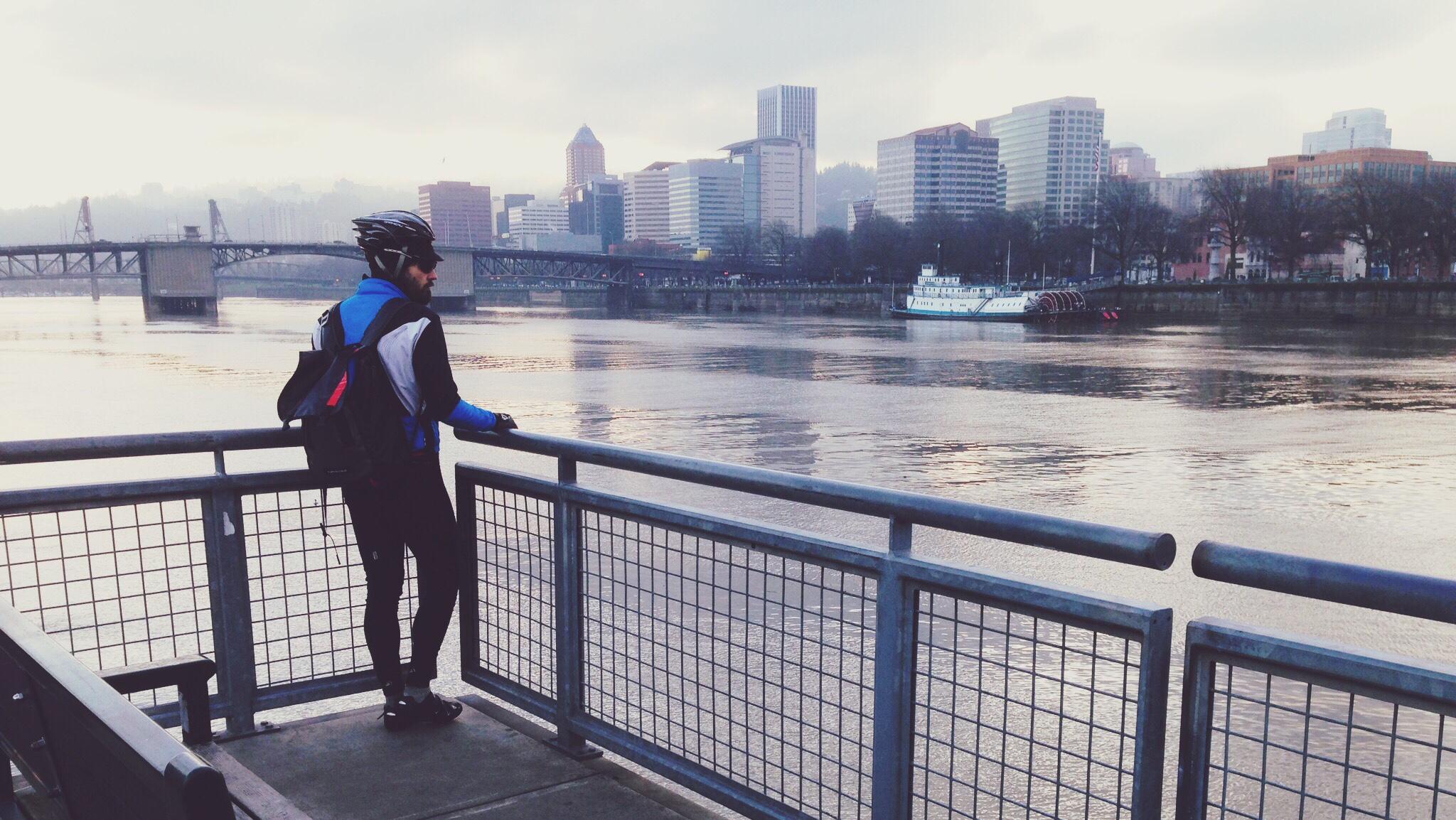 Looking across the Willamette River toward Portland.